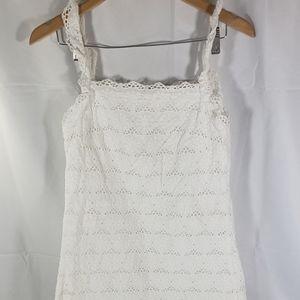 Zara Trafalic White Crochet Casual Shift Dress